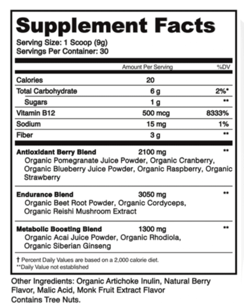 label for organifi red juice